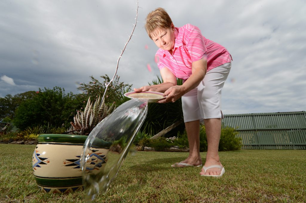 Kay Trevis empties out backyard water containers to help keep the mosquito breeding sites under control.