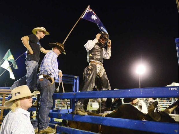 Lawrence cowboy Shane Want gets set to ride feature bull, Hot Shot, during the Jacaranda Rodeo at the Grafton Showground. Want could face Suicidal this Saturday night. Photo: Debrah Novak