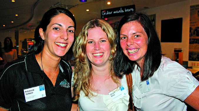 BRIGHT OUTLOOK: Rebecca Reitano, left, of PIA Sunshine Coast, Jacque Miller of KHA and Ellen Cox of GHD at the UDIA Sunshine Coast Christmas party. Photos: Erle Levey