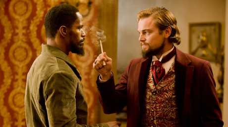 Jamie Foxx, left, and Leonardo DiCaprio in a scene from the movie Django Unchained.