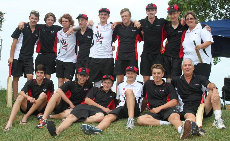 QUEENSLAND CRICKET CHAMPIONS: The Wide Bay under 16 cricket team celebrate after winning the State Junior Championships in Brisbane. The squad featured South Burnett juniors Sam Dennien, Simon Fairbairn, Lane Ferling and Stuart Robinson.