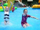Riley Anders - 5 years old and Abby Nixon - 5 years old at waterworld. Photo Allan Reinikka / The Morning Bulletin