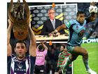 CLOCKWISE FROM LEFT: Cameron Smith with the premiership trophy, David Gallop gets the sack as CEO of the NRL, Michael Jennings in action for NSW and Greg Inglis gets put on report for a shoulder charge on Dean Young.