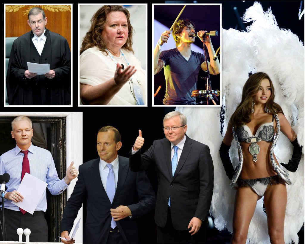 CLOCKWISE FROM TOP: Peter Slipper resigns as Speaker; mining billionaire Gina Rinehart; pop sensation Gotye; Miranda Kerr walks the catwalk during the Victoria's Secret Fashion Show; former PM Kevin Rudd; Opposition Leader Tony Abbott and WikiLeaks founder Julian Assange.