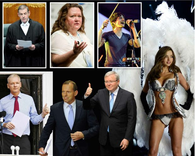 CLOCKWISE FROM TOP: Peter Slipper resigns as Speaker; mining billionaire Gina Rinehart; pop sensation Gotye; Miranda Kerr walks the catwalk during the Victoria's Secret Fashion Show; former PM Kevin Rudd; Opposition Leader Tony Abbott and WikiLeaks founder Julian Assange.