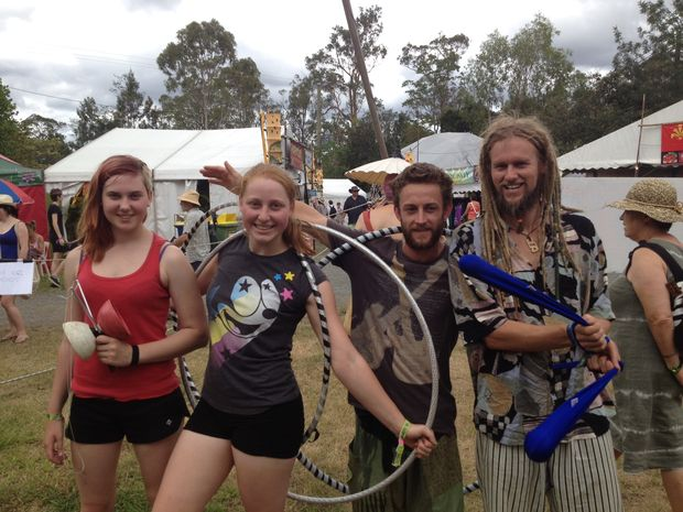 Marina Gelmann, Lisa Goldsworthy, Mark Treloar, and Jeremy Edwards at day one of the Woodford Folk Festival 2012.