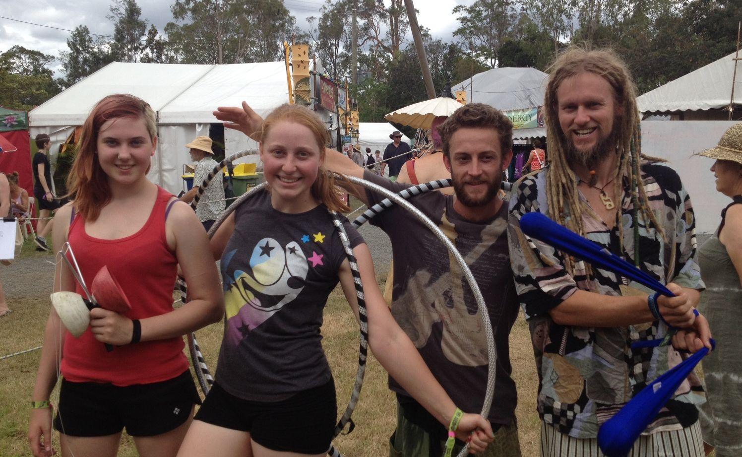 Marina Gelmann, Lisa Goldsworthy, Mark Treloar, and Jeremy Edwards at day one of the Woodford Folk Festival 2012.