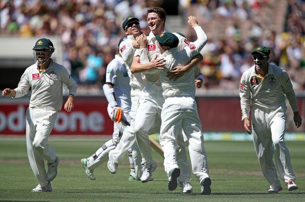 Jackson Bird of Australia celebrates his dismissal of Dimuth Karunaratne of Sri Lanka during the Boxing day Test.