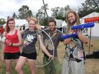Woodford Folk Festival Thursday December 27 - Day 1 socials Pictured: Marina Gellmann and Lisa Goldsworthy from Adelaide, Mark Treloar from Tasmania and Jeremy Edwards from New Zealand. Photo Kristy Muir / Sunshine Coast Daily