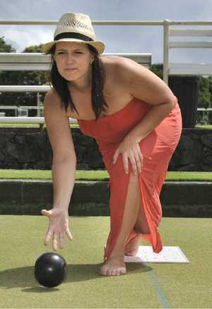 QUEEN OF CLUBS: Georgia White, the first woman bowler to play the Summerland Series at Ballina.