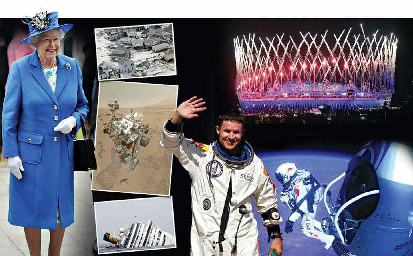 CLOCKWISE FROM TOP: Queen Elizabeth II celebrates her Diamond Jubilee; Hurricane Sandy strikes America's north-east; the London Olympics go off with a bang; Felix Baumgartner skydives from 39km above the earth; Costa Concordia sinks off Italy's west coast; NASA's Curiosity rover lands on Mars.