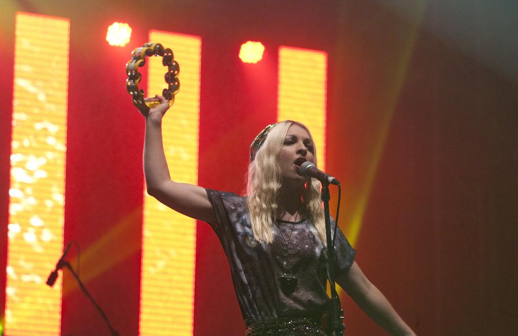 Kate Miller-Heidke performs at Woodford Folk Festival 2012.