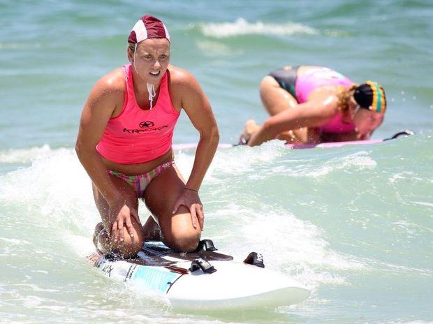 Oceans 38 surf carnival at Dicky Beach: Mooloolaba's Allira Richardson in the open girls board semi's. Photo: Brett Wortman / Sunshine Coast Daily
