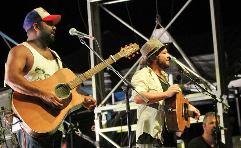 Busby Marou are at home on stage at the Oxford Street Party on Saturday night.