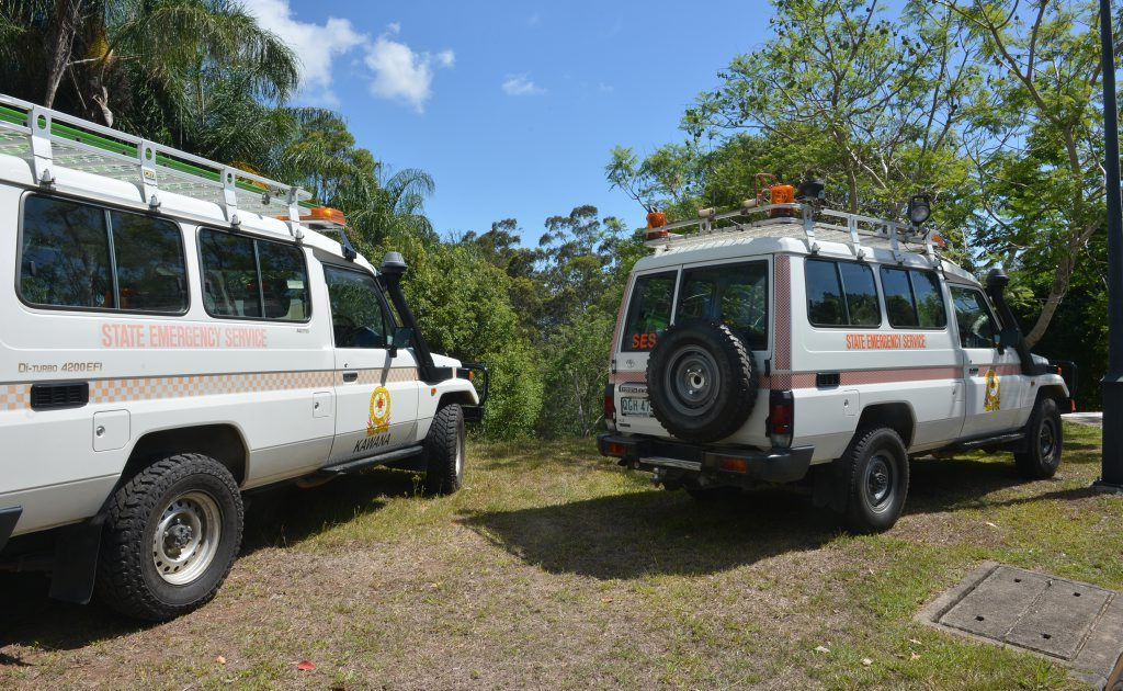 SES vehicles at the site of the search for missing man Dylan Daure.