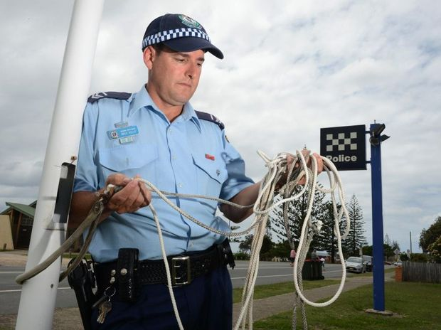Kingscliff police station. Senior constable Mick Kelly. Stolen flag. Photo: John Gass / Daily News