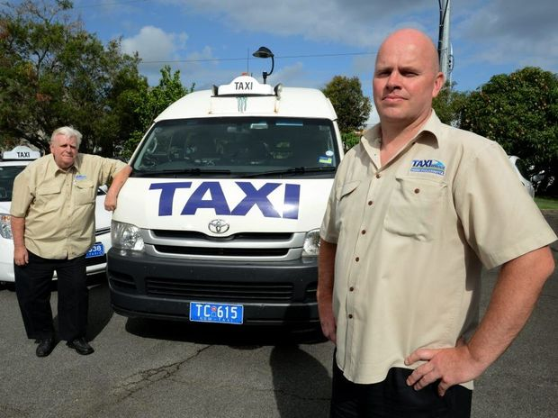 Drivers Brian Foster and Dean Matthews. No Taxi marshalls. Photo: John Gass / Daily News