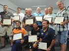 The Aurizon depot, formerly Queensland Rail, at Maryborough West said goodbye to 14 workers yesterday who took voluntary redundancies. They were farewelled with a certificate of service and a gold watch engraved with their years of service.