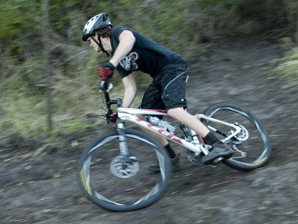 RANGE RIDE: Toowoomba Mountain Bike Club member Kyle Briskey hits the track.