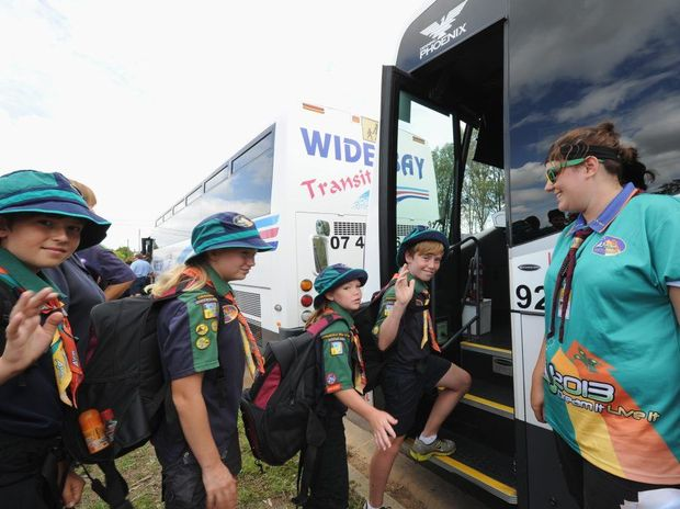 Rory Golik is first to board the bus for the Maryborough Showgrounds and the scout jamboree.
