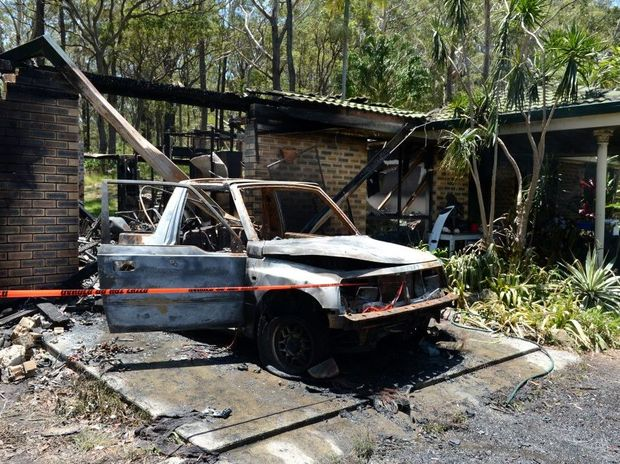 House fire at Round Mt Road. Photo: John Gass / Daily News