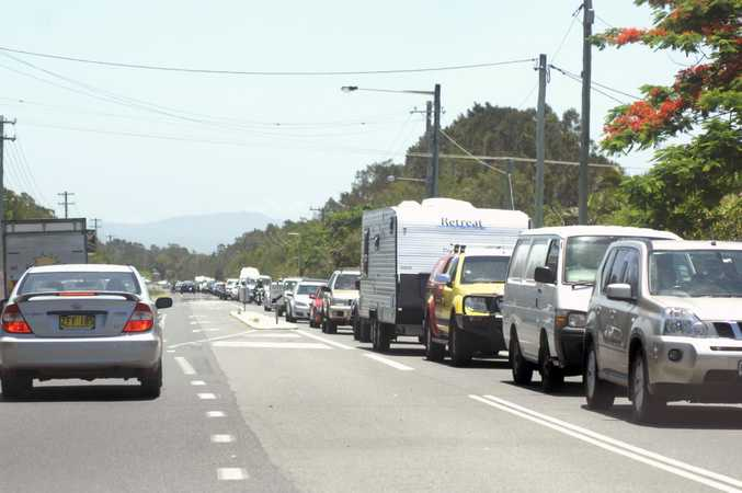Long lines of traffic were seen leading into Byron Bay as holiday makers made for the tourist destination. Photo Marc Stapelberg / The Northern Star