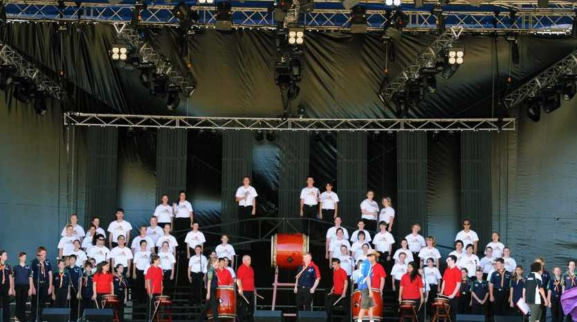 Rehearsals and sound checks on the main stage for the opening night at the scout jamboree.