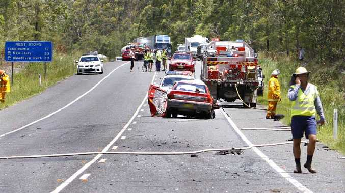 The cars involved in Monday morning's crash near the Iluka turn-off that left one driver dead.