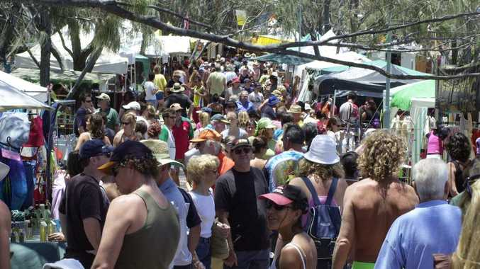 Crowds at Byron Bay's Beachside Markets.