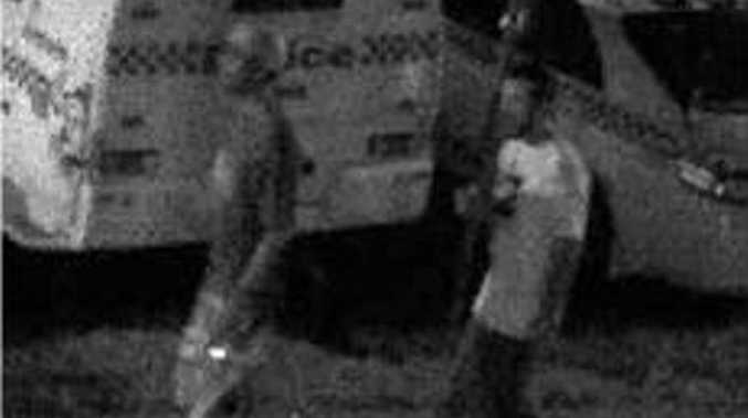 Ballina police believe these two men can assist them with their inquiries into the stolen state flag.