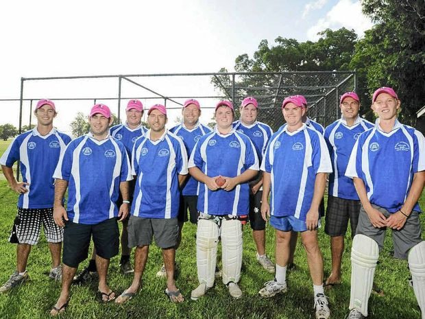 The boys from Tucabia Copmanhurst Cricket Club try out their gear for last year's Pink Stumps Day. Photo: JoJo Newby