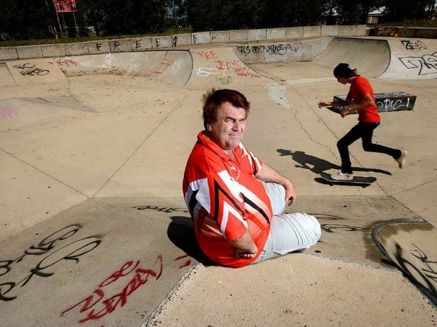 FED UP: Cr David Pahlke at the Lenihan Park skate park in Rosewood which was covered in graffiti in one night.