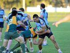 Sunshine Coast Stingrays against Wests rugby union match. Stingrays Shon Siemonek looks for a gap.