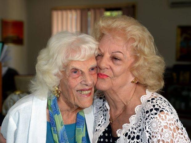 Sylvia Adams with Doris 'Dodo' Hall back at home. Photo: John Gass / Daily News