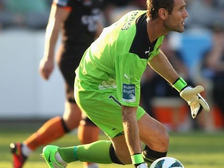 Brisbane Roar goalkeeper Michael Theo moves the ball out from goal during the round eight A-League match between the Central Coast Mariners and the Brisbane Roar at at Bluetongue Stadium on November 25, 2012 in Gosford, Australia.
