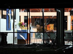 Truck crashes through fence, windows at Bay Anglican church