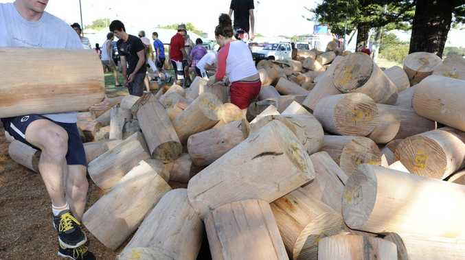Volunteers help sort and stack the 1000 logs that needed for the Brunswick Heads Woodchop Carnival. Photo Kate O'Neill / The Northern Star