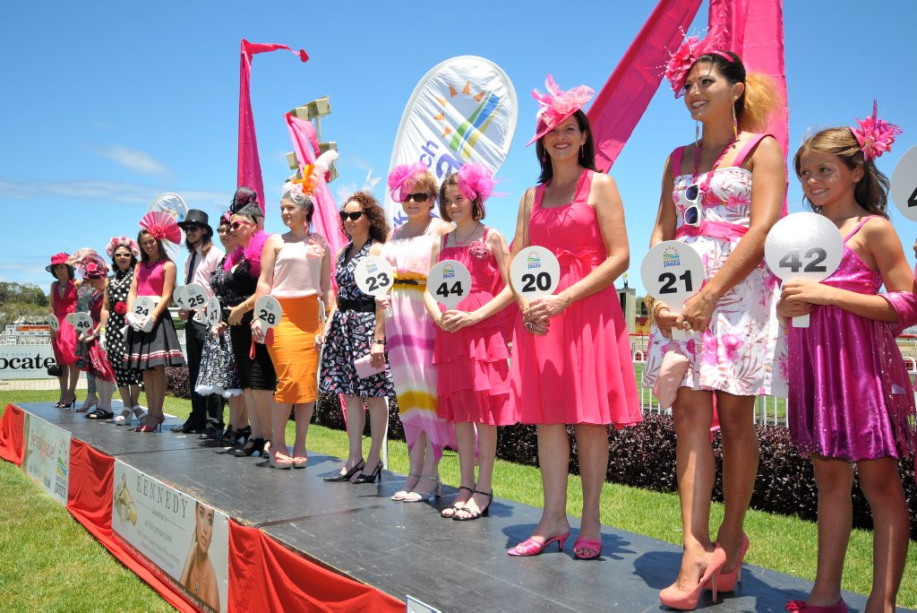 Every shade of pink in a myriad of patterns and designs was on show at the Pink Silks race day at Coffs Harbour Racing Club.