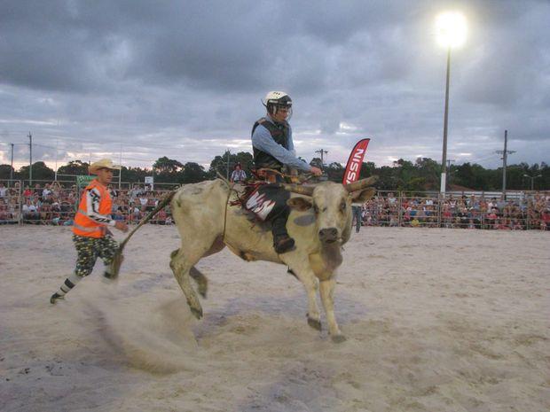 PJ Bradford winner of the Novice Bull Riding Event riding Cream Delight at The Cudgen Bull and Bronc Spectacular.