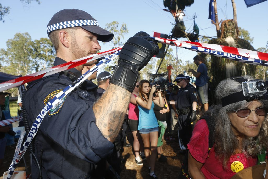 A scene from the Glenugie anti-CSG protest early this year.