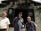 The former Toowoomba Jazz Club building in Water Street after the fire that destroyed it. Members of the Jazz Club, talk about their memories of the club, Brian Close, Pat Murphy and Bill White. Photo: Bev Lacey / The Chronicle