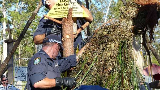Police arrest 18 protestors blockading a coal seam gas drilling site at Glenugie, south of Grafton. Photo: Andrya Hart.