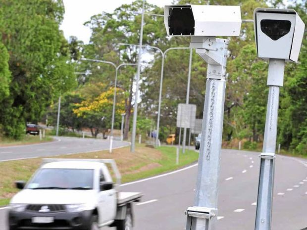 The new speed camera at work along Nambour Connection Rd, Woombye.