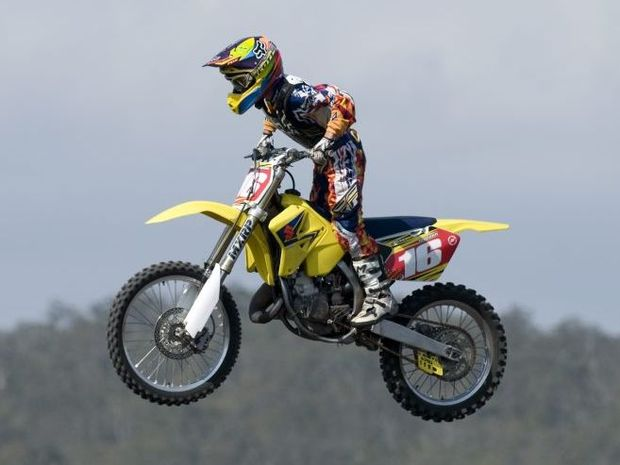 Kaleb Barham of the Toowoomba Motocross Club soars over a jump.