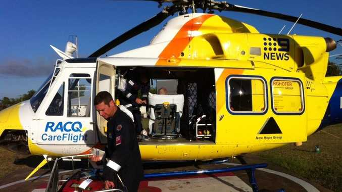 A Chinchilla man is airlifted to Brisbane after ingesting weed killer.