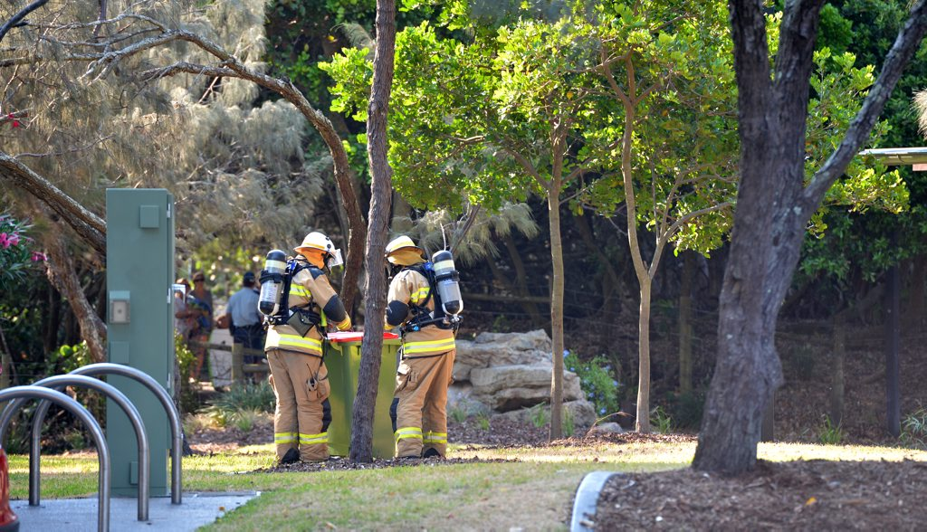A suspicious canister was found in a Mooloolaba Beach carpark and placed in a bin for safety. Police cleared the area until it could be removed. Photo:Warren Lynam / Sunshine Coast Daily