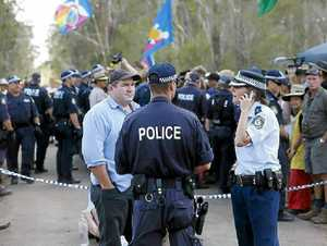police discuss their next option at Glenugie.