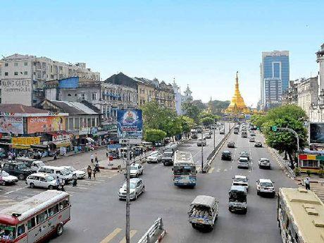 Downtown Yangon.
