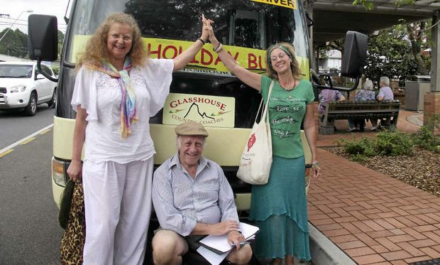 COMMUNITY SERVICE: Mapleton's Rosemary Mitchell, Barry Pittard and Angel Starr all met on the bus.