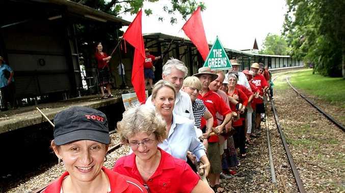 FILE pic:  TOOT president Karin Kolbe, Murwillumbah resident Marilyn Gough, Senator Fiona Nash, Tweed MP Geoff Provest, and then deputy leader of Nationals Jenny Gardiner.